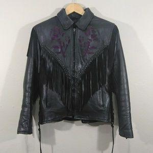 Vtg. 80/90's Leather Fringe Biker Jacket